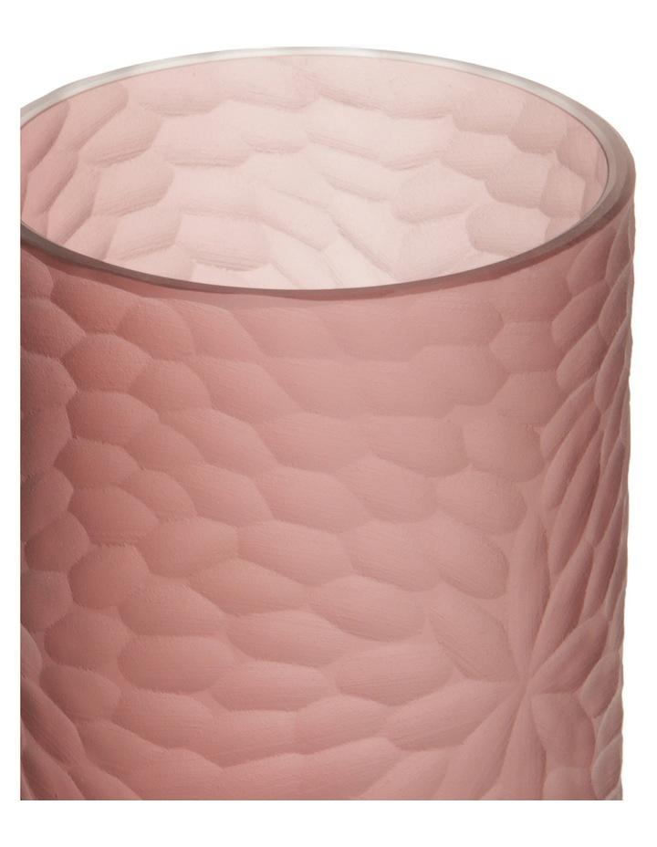 Half Etched Glass Vase Pink 29cm image 2