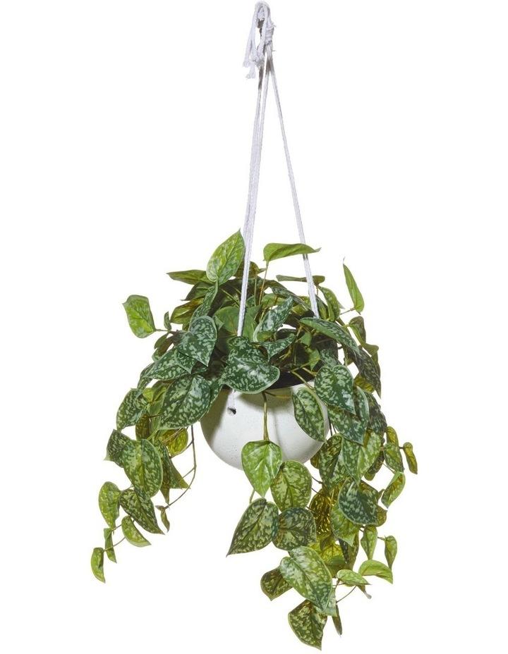 Artificial Hanging Aluminium Plant in Bowl Green/Cream 40x30x84cm image 1