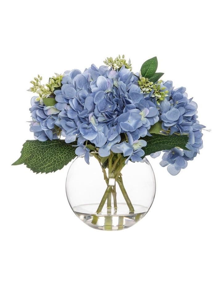 Hydrangea Mix in Sphere Vase Blue image 1