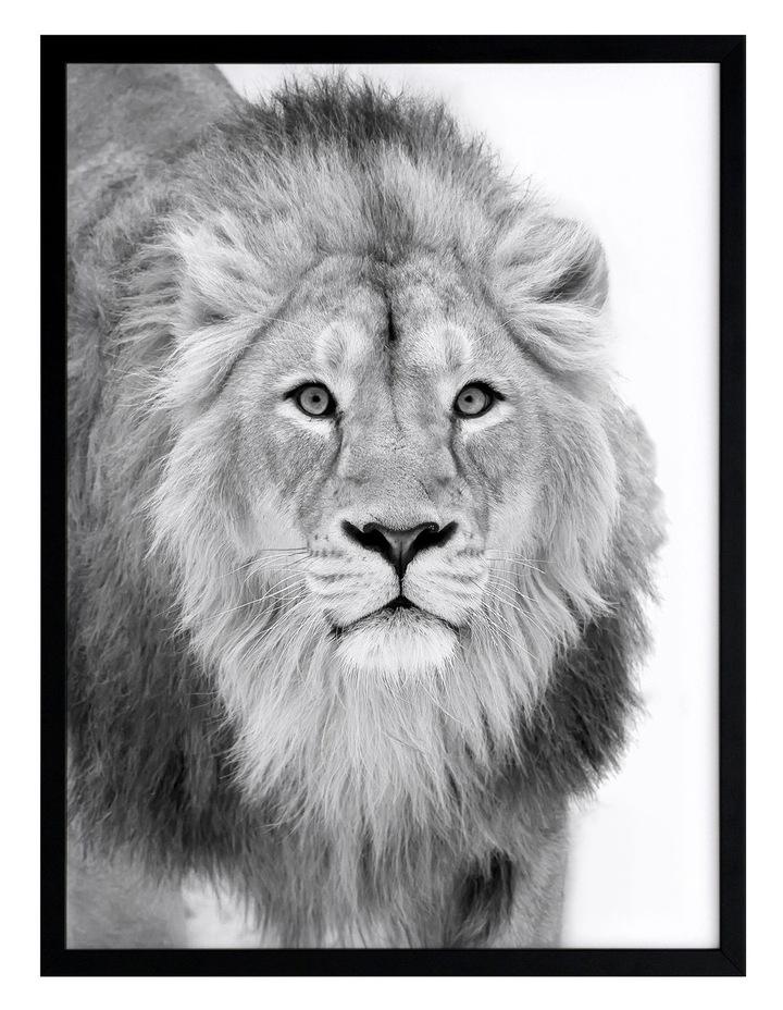Lion Hunt Print Black Frame image 1