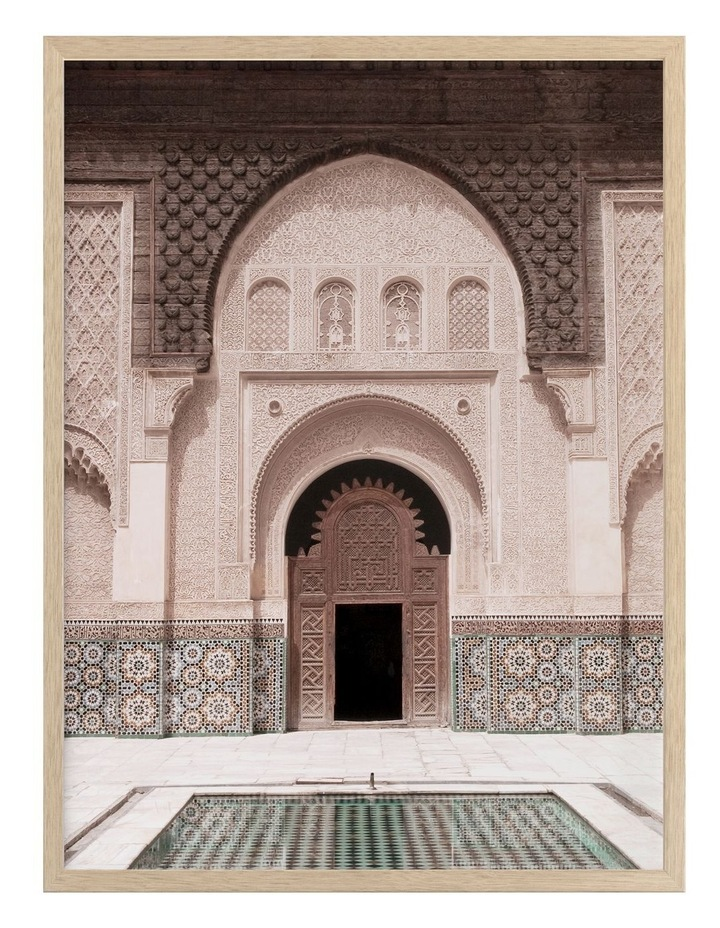 Moroccan Pool Print Oak Frame image 1