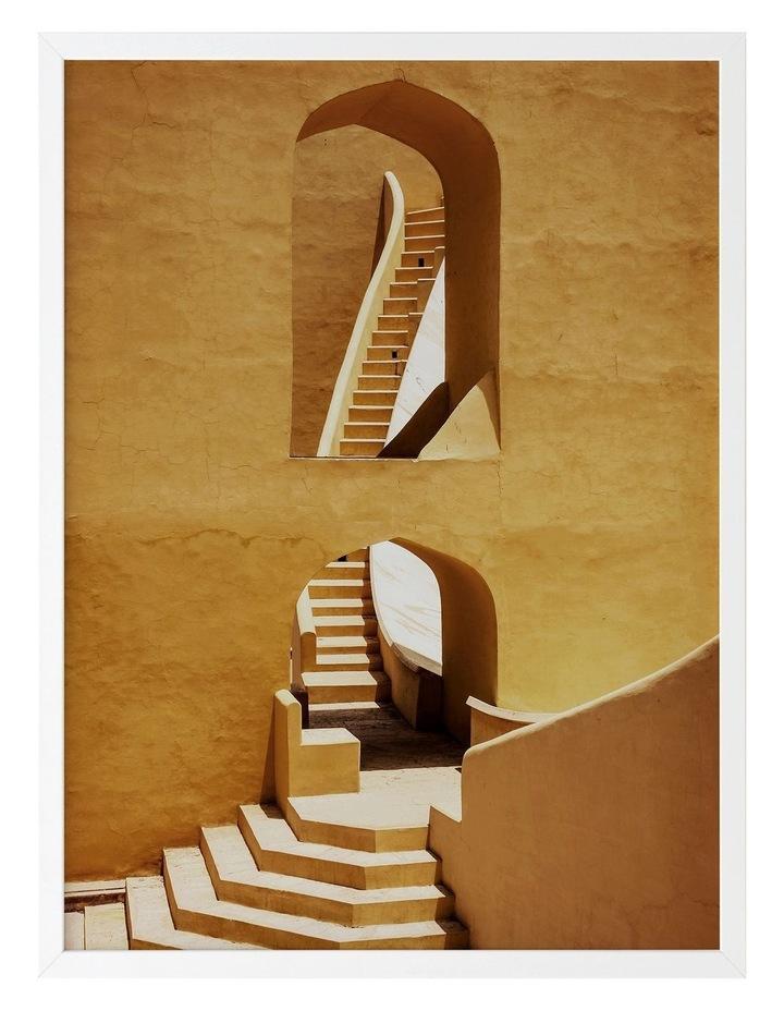 Winding Staircase Mustard Print White Frame image 1