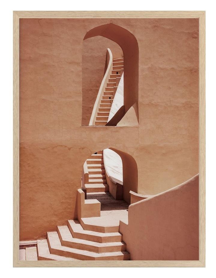Winding Staircase Terracotta Print Oak Frame image 1