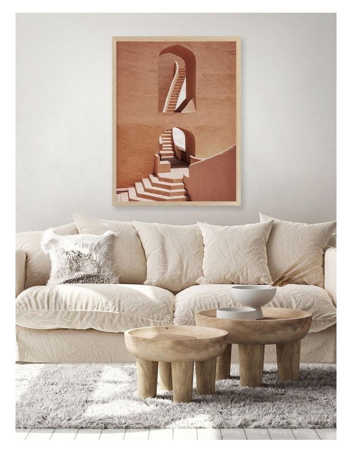 Winding Staircase Terracotta Print Oak Frame image 2