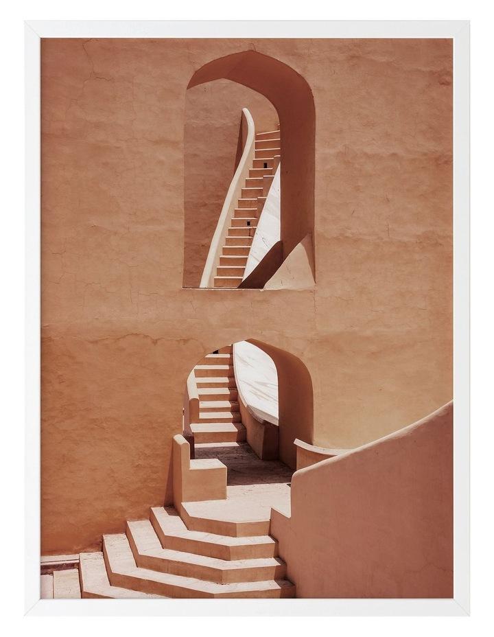 Winding Staircase Terracotta Print White Frame image 1
