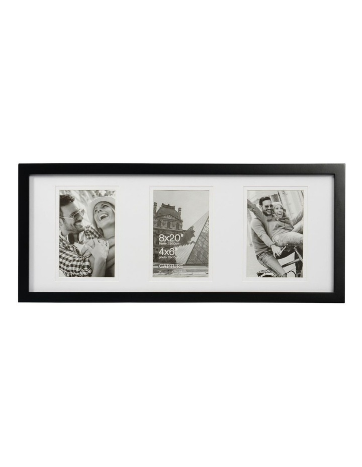 """Explore 8x20"""" Black Frame with 3 4x6"""" Openings image 1"""