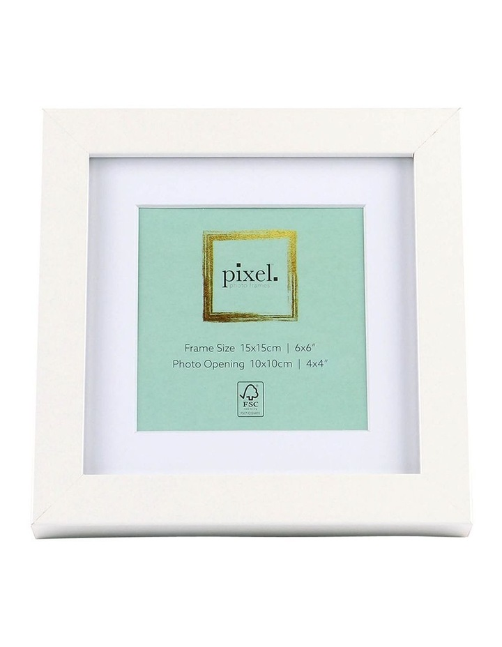 Pixel White Photo Frame 15x15cm with 10x10cm Opening image 1