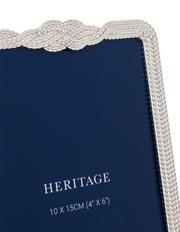 Heritage - Shiny Silver Plated Braid Edged Zinc Alloy Photo Frame 10x15cm