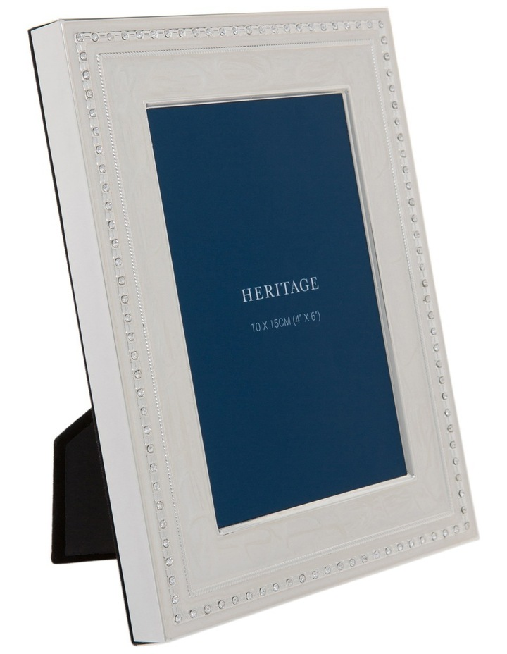 Shiny Silver Metal Photo Frame with White Enamel and Clear Crystal 10x15cm image 2