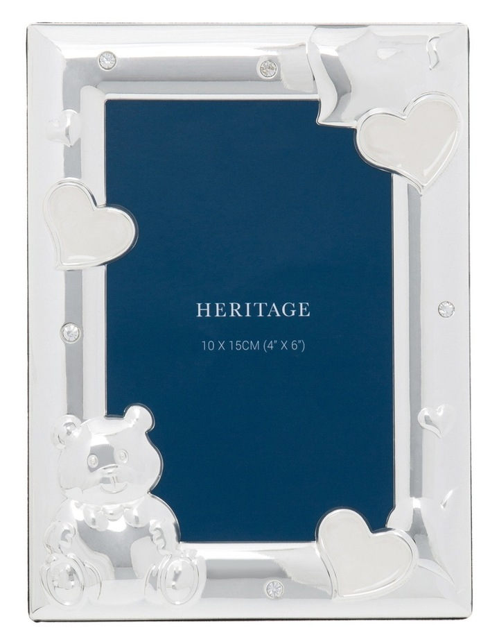 Shiny Silver Metal Photo Frame with White Enamel and Clear Crystal 10x15cm image 1