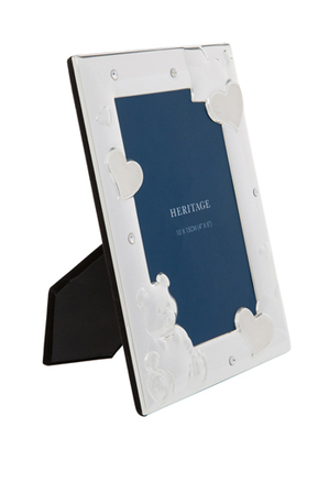 Heritage - Shiny Silver Metal Photo Frame with White Enamel and Clear Crystal 10x15cm