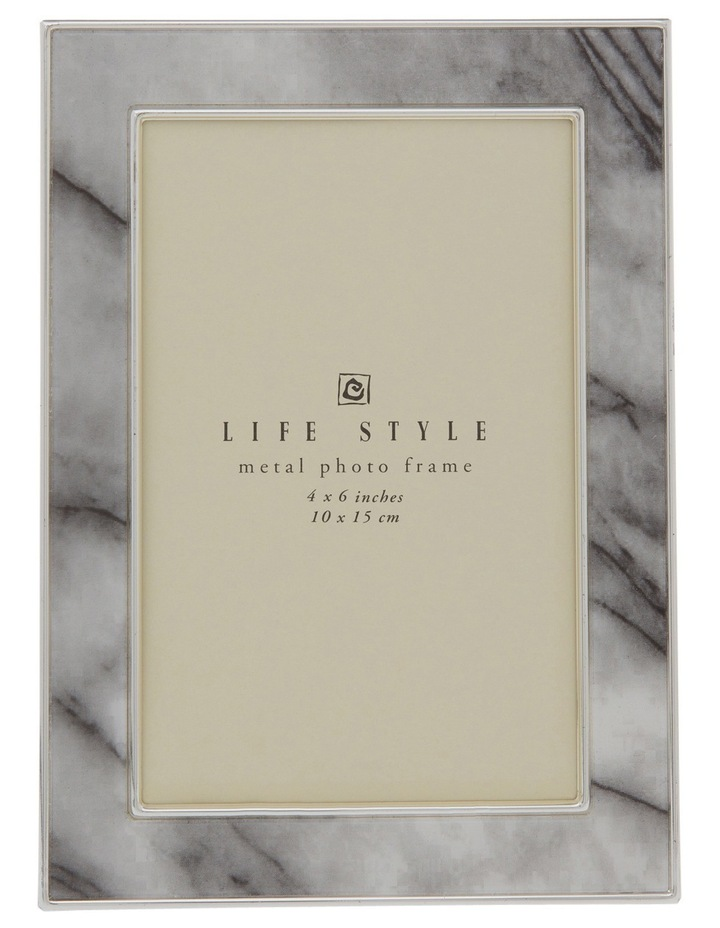 Shiny Silver Metal Photo Frame with Marble Printed Pattern 10x15cm image 1