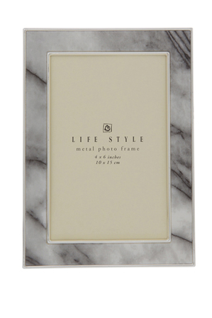 Heritage - Shiny Silver Metal Photo Frame with Marble Printed Pattern 10x15cm