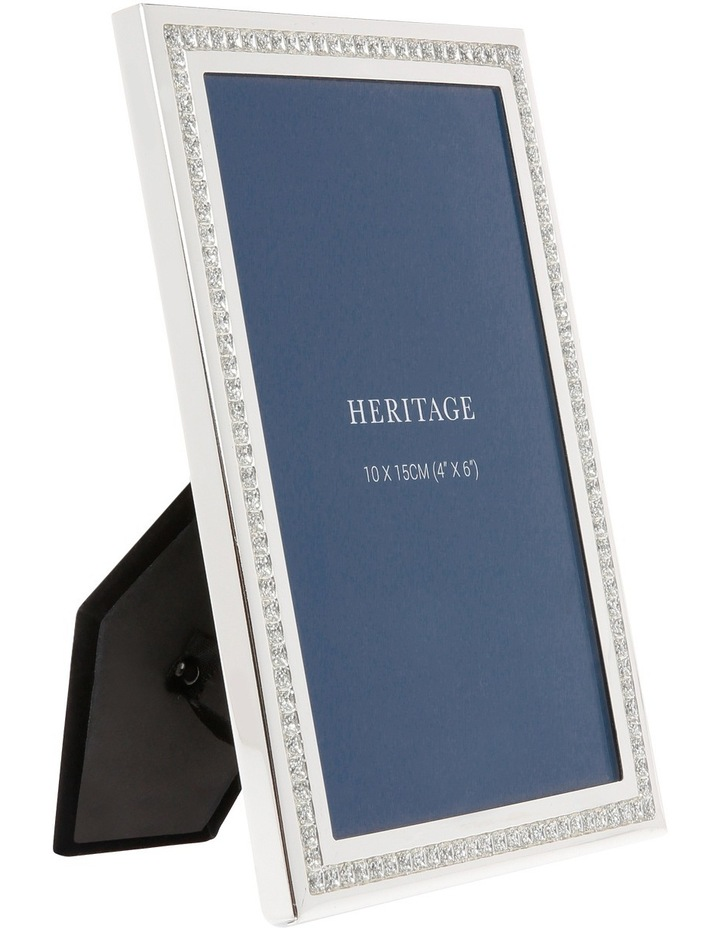 Silver Plated Photo Frame with Sparkling Inlay 10x15cm image 2