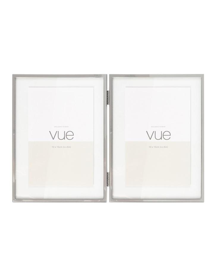 Vue Double Shiny Silver Metal Photo Frame 10x15cm (x2) image 1