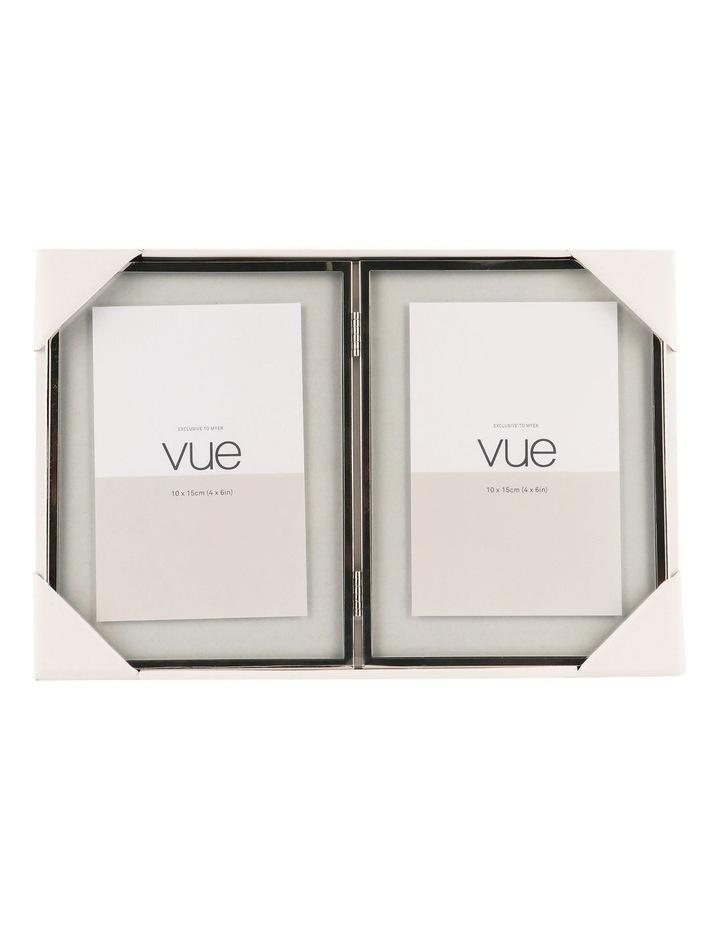 Vue Double Shiny Silver Metal Photo Frame 10x15cm (x2) image 3