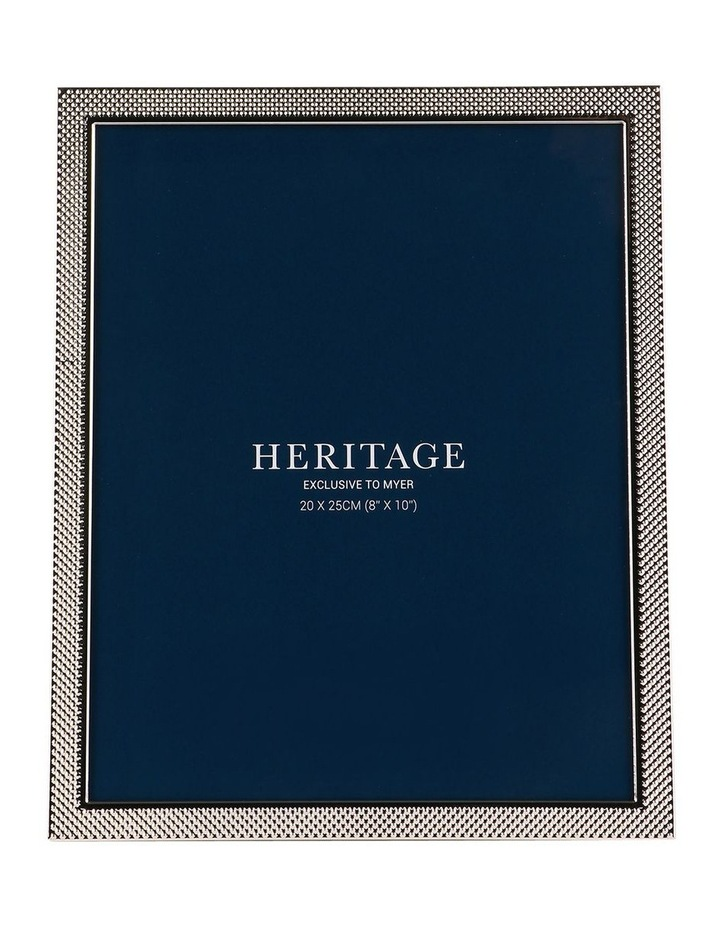 Heritage Textured Shiny Silver Metal Photo Frame 20x25cm image 1