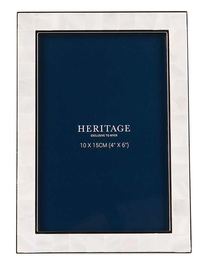 Heritage Mother of Pearl Shiny Silver Metal Photo Frame 10x15cm image 1