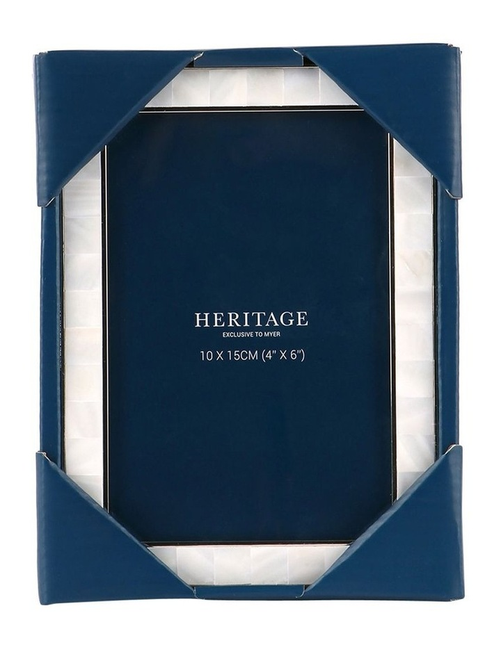 Heritage Mother of Pearl Shiny Silver Metal Photo Frame 10x15cm image 3
