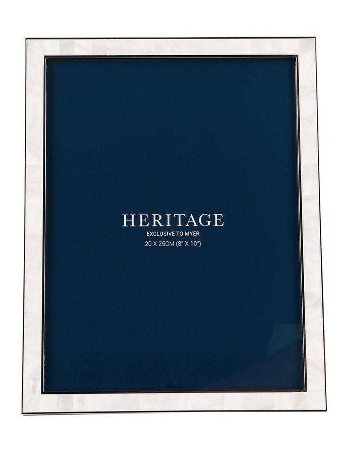 Heritage Mother of Pearl Shiny Silver Metal Photo Frame 20x25cm image 1