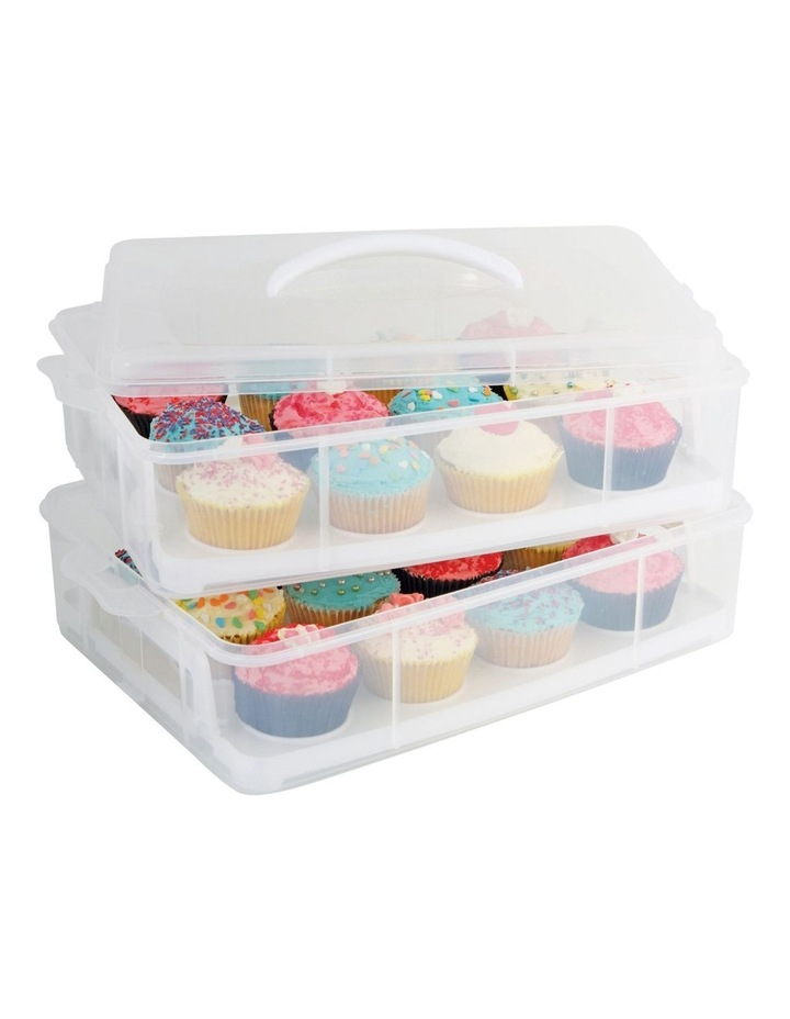 24 Cup Stackable Cupcake Carrier in Clear image 1