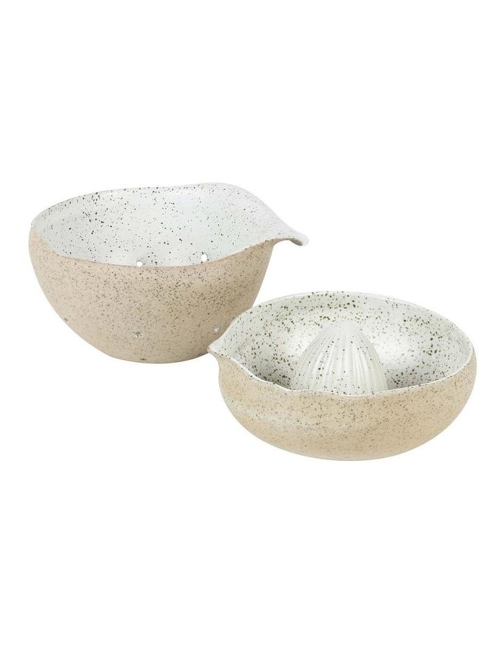 Lemon Juicer & Small Colander - White Garden to Table image 1