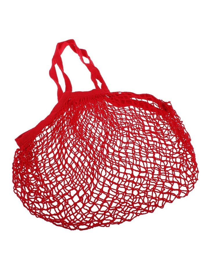 Cotton String Bag Long Handle - Red image 1