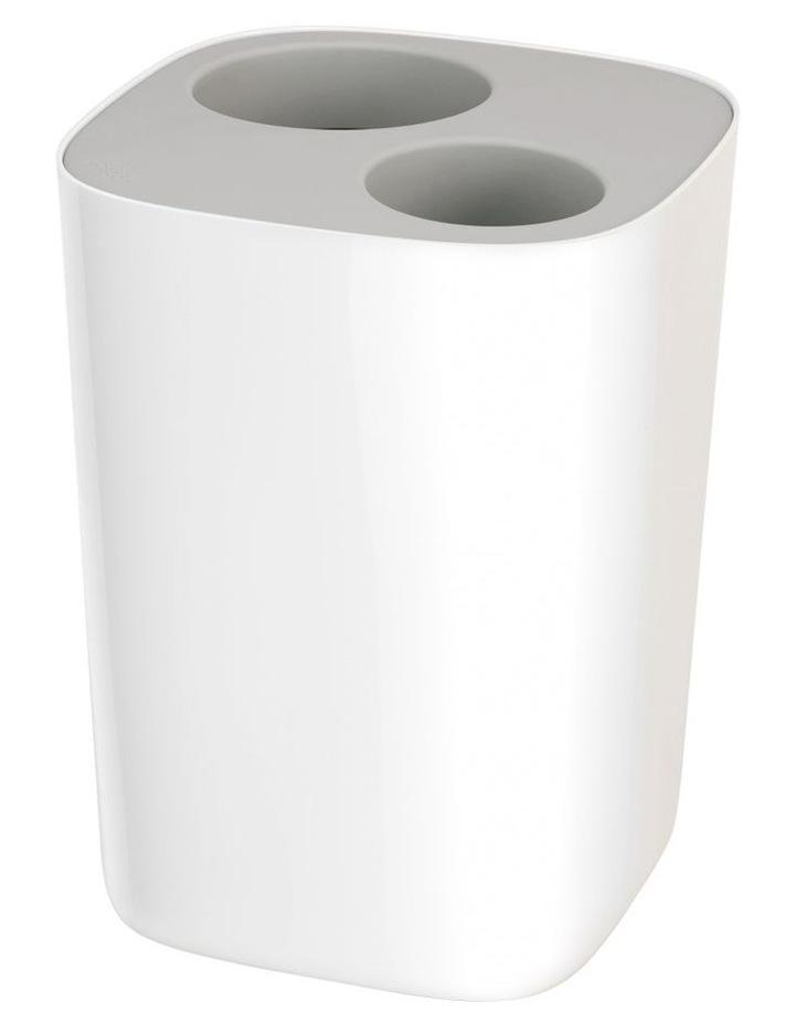 Split Bathroom Waste Seperation Bin- Grey/White image 2