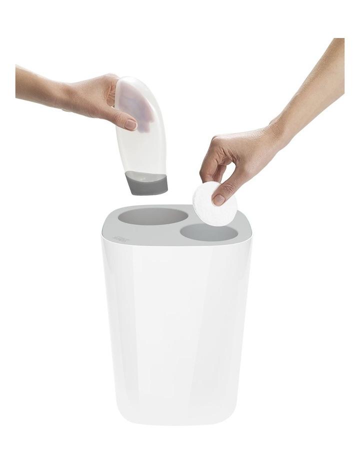 Split Bathroom Waste Seperation Bin- Grey/White image 3