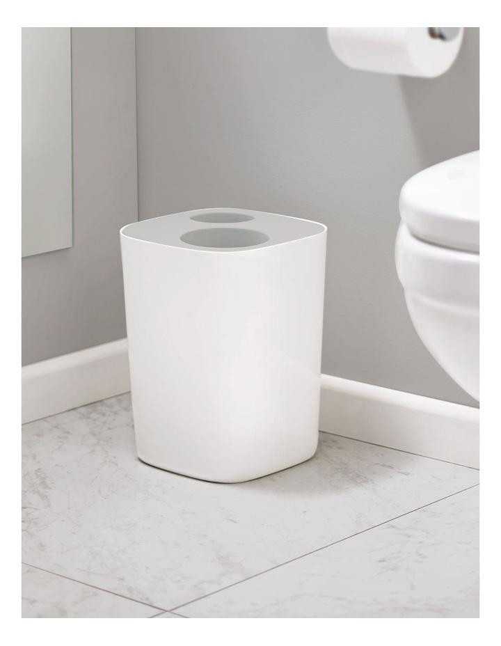 Split Bathroom Waste Seperation Bin- Grey/White image 5