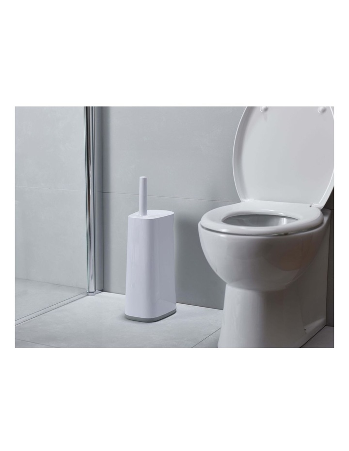 Flex Store Toilet Brush with Extra-large Caddy - Grey/White image 3