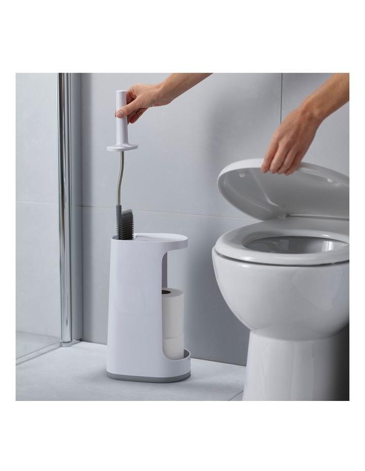 Flex Store Toilet Brush with Extra-large Caddy - Grey/White image 4