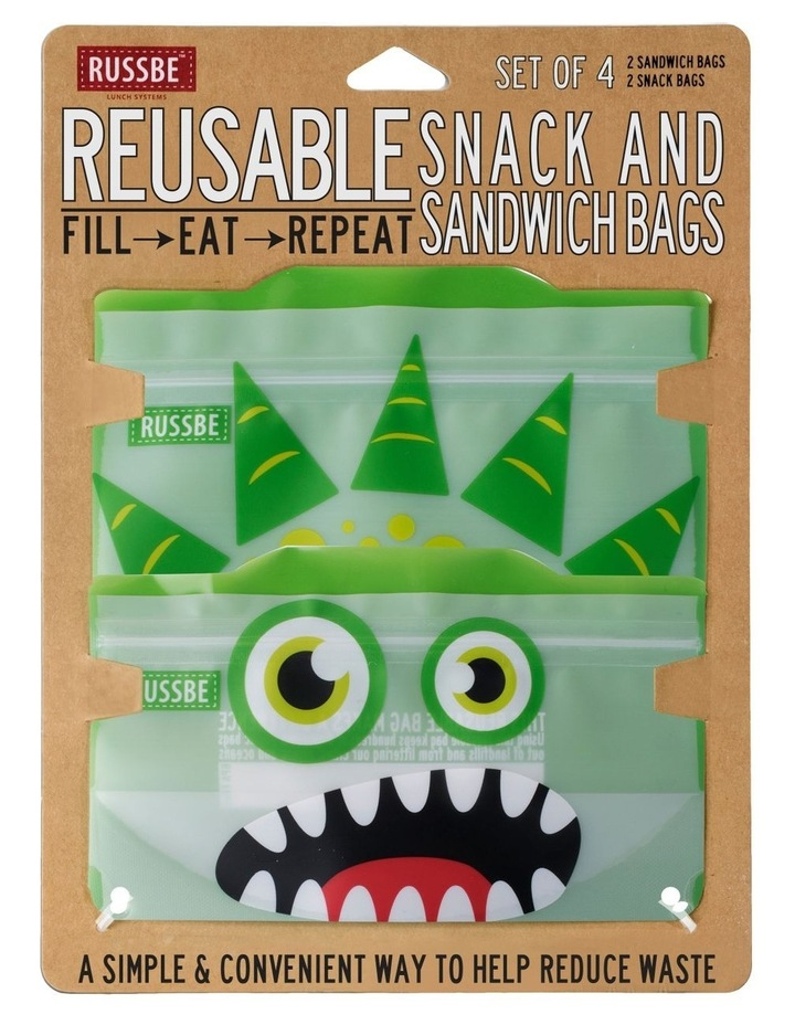 Snack/Sandwich Bags Set of 4 - Green Monster image 2