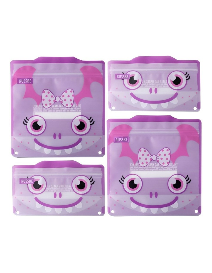 Snack/Sandwich Bags Set of 4 - Purple Monster image 1