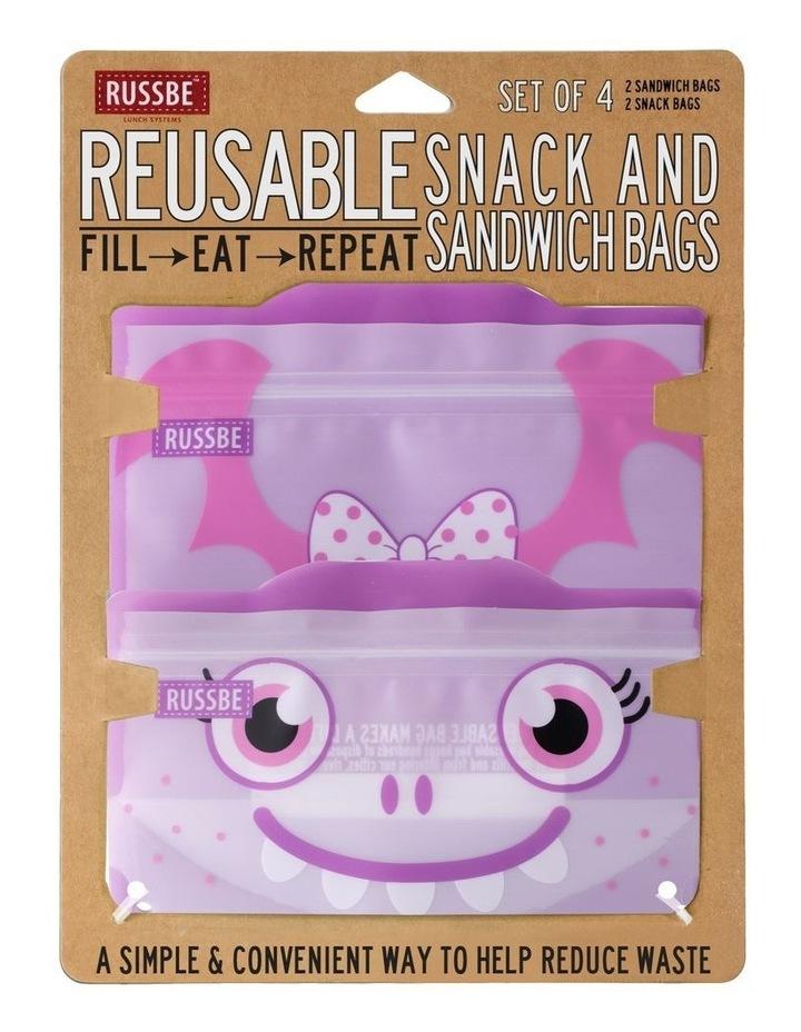 Snack/Sandwich Bags Set of 4 - Purple Monster image 2