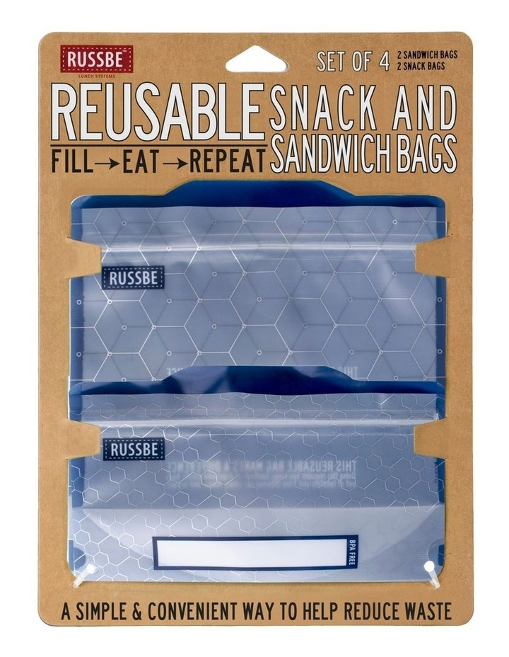 Snack/Sandwich Bags Set of 4 - Metallic Hexagrid image 2