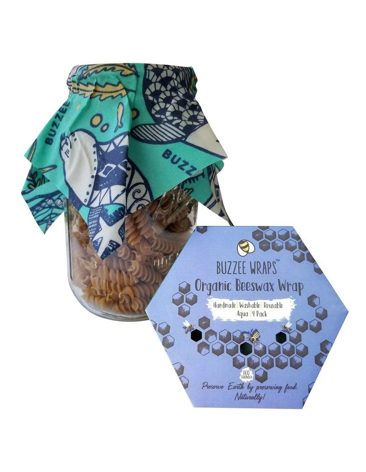Organic Beeswax Wraps - Aqua - Set Of 4 image 1