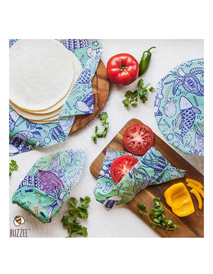 Organic Beeswax Wraps - Aqua - Set Of 4 image 7