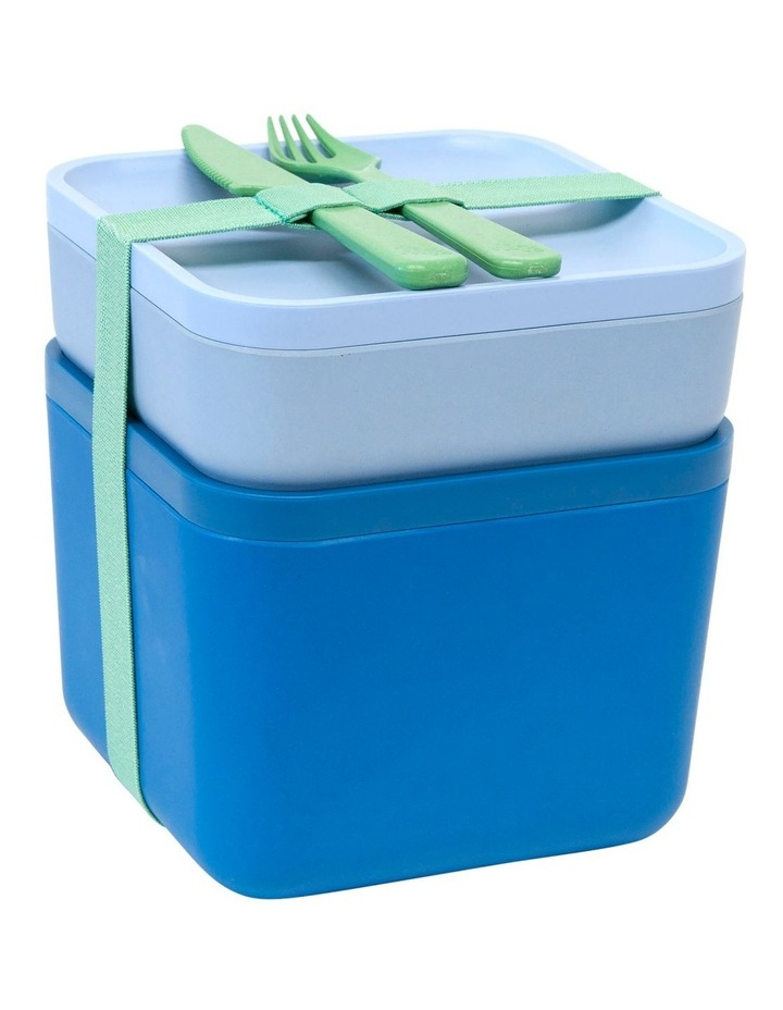 Sandwich and Salad Container Set with Cutlery - Space & Sky image 1