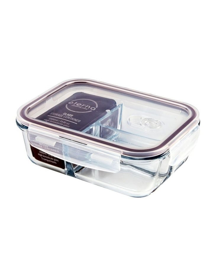 Rectangular 1040ml Glass 3 Divided Food Container image 3