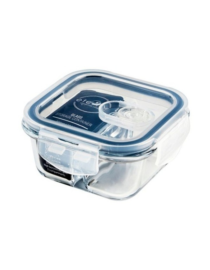 Square 300ml Glass 2 Divided Food Container image 3
