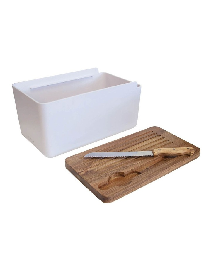 HUDSON Bread Bin with Wooden Cutting Board - White image 2