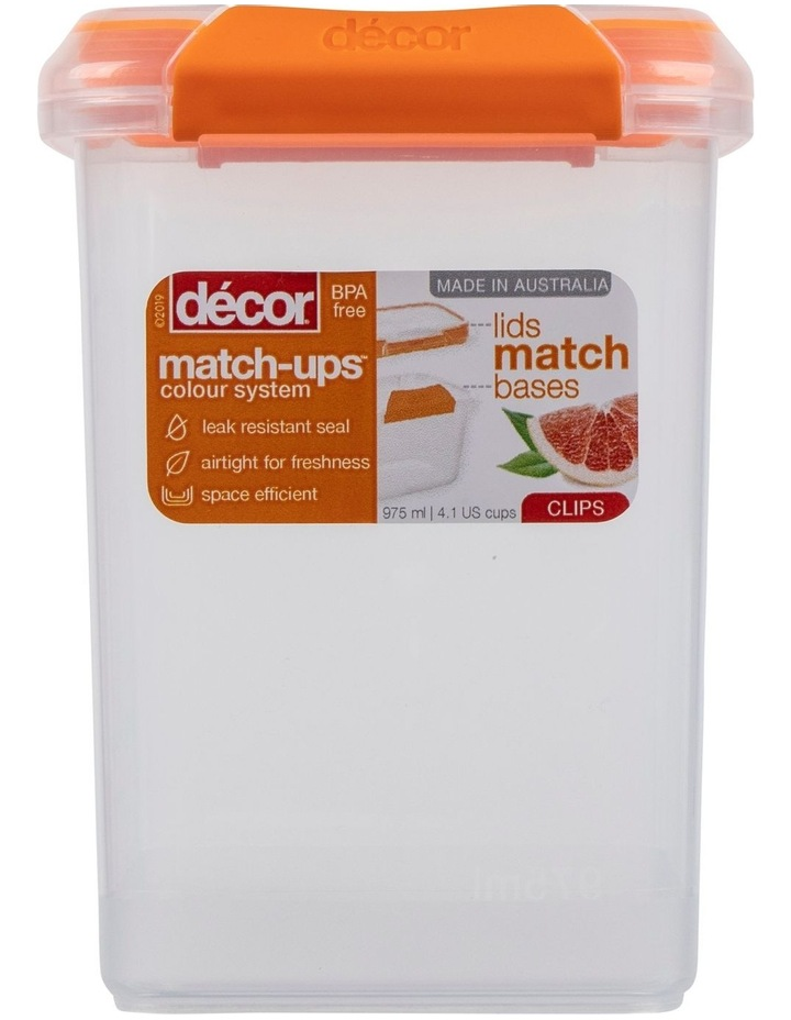 Match-Ups Clips Tall Square 975mL Clear/Orange image 1