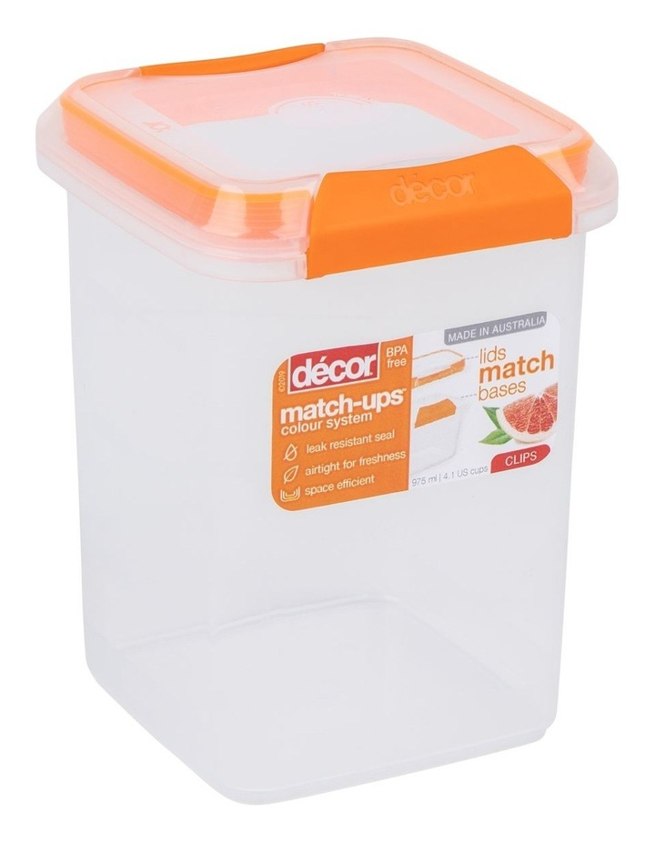 Match-Ups Clips Tall Square 975mL Clear/Orange image 2