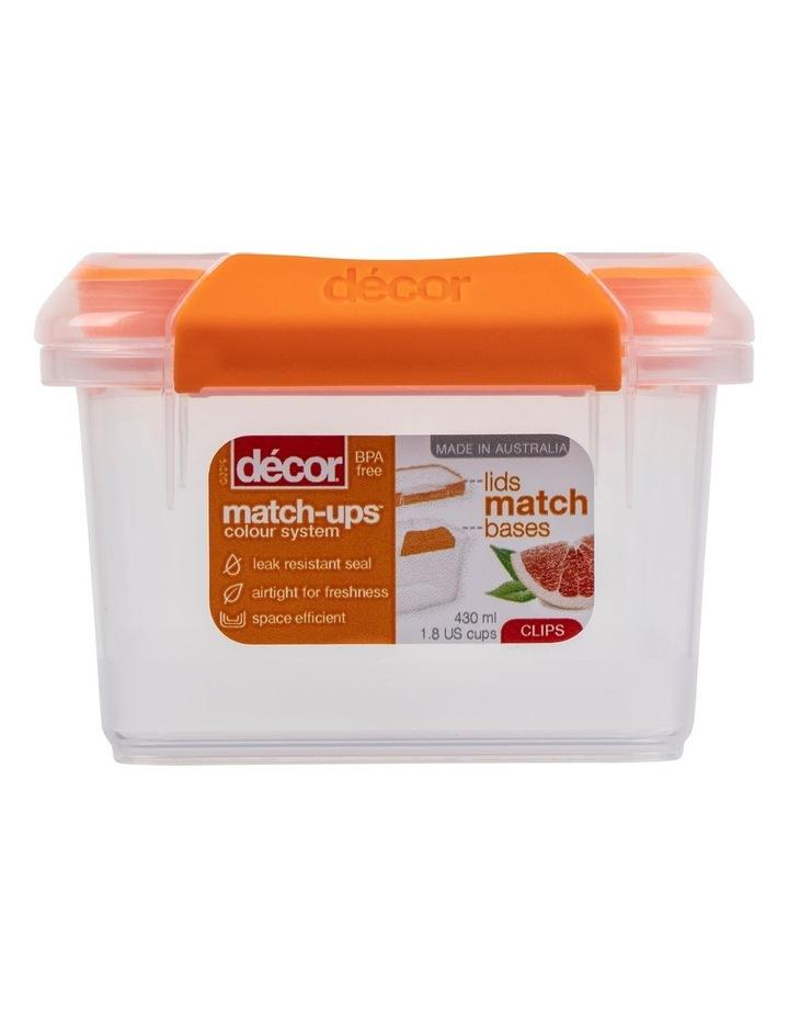Match-Ups Clips Square 430mL Clear/Orange image 1
