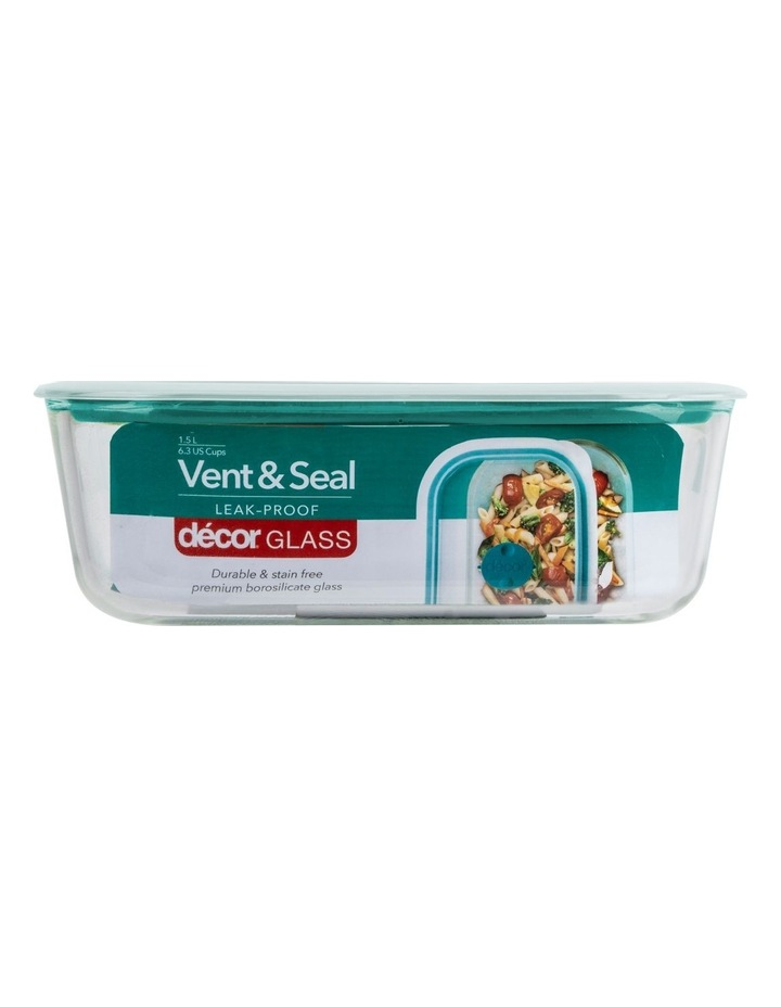 Vent & Seal Glass Oblong 1.5L Clear/Teal image 1