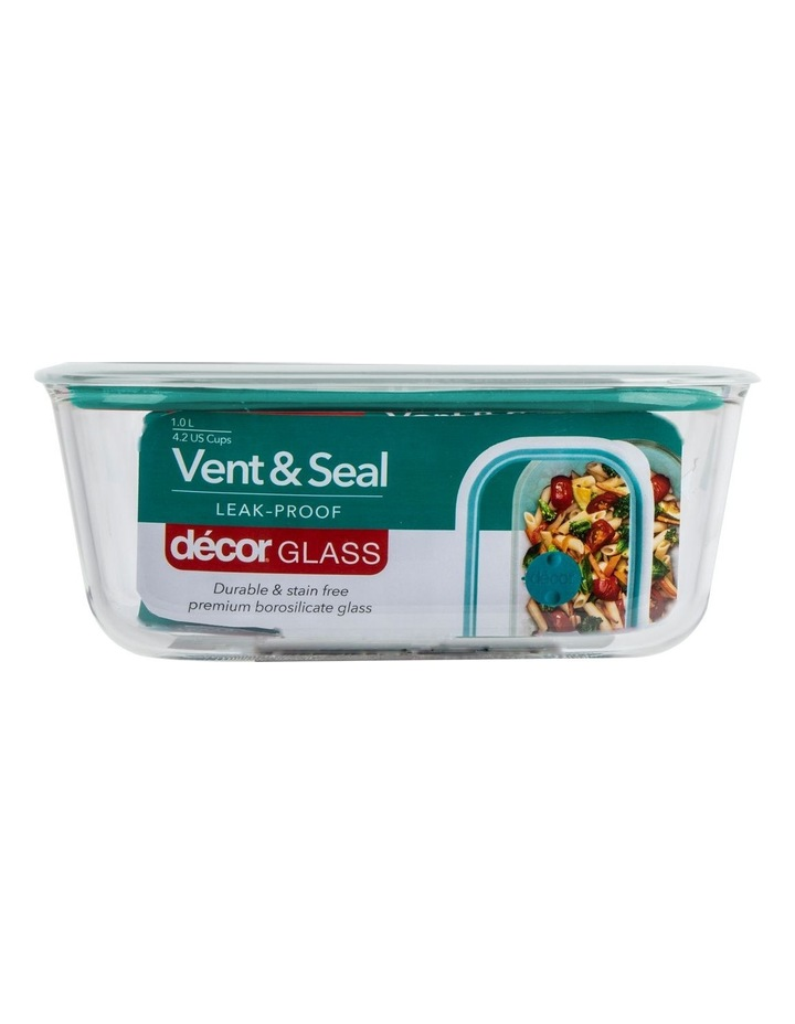 Vent & Seal Glass Oblong 1L Clear/Teal image 1