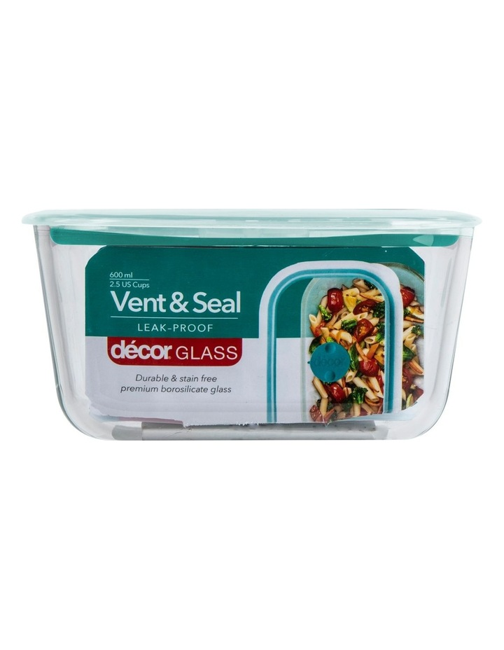 Vent & Seal Glass Oblong 600mL Clr/Teal image 1