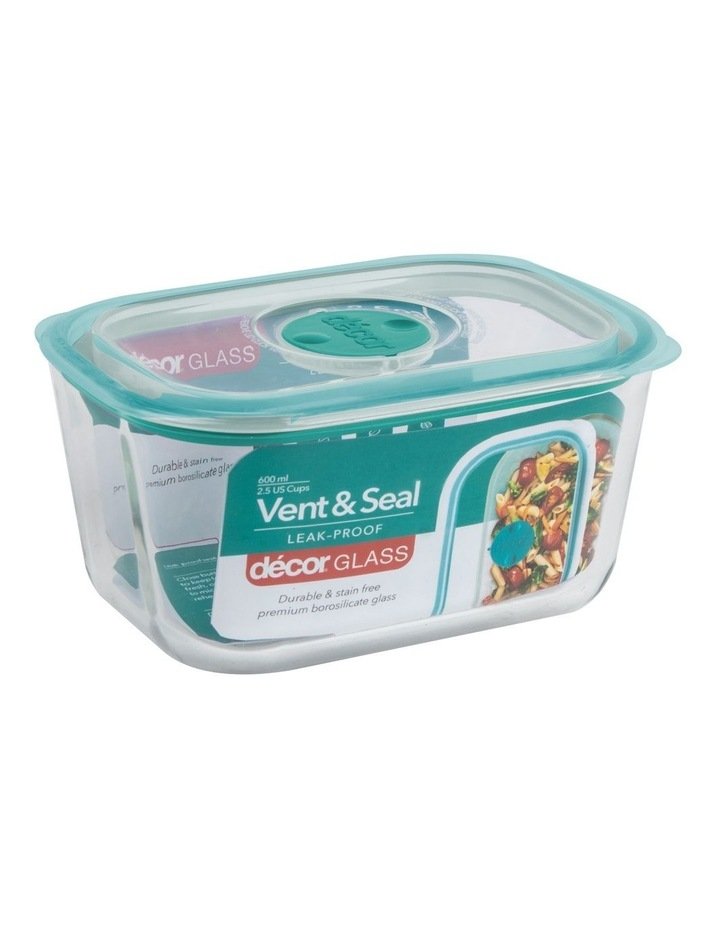 Vent & Seal Glass Oblong 600mL Clr/Teal image 2