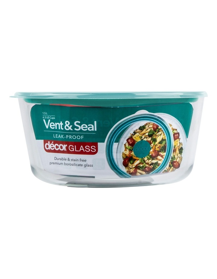 Vent & Seal Glass Round 1.5L Clear/Teal image 1